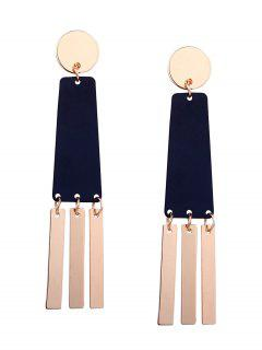 Two Tone Geometric Bar Drop Earrings - Black And Golden