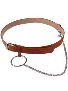 Large Hoop Chain Pin Buckle Wide Belt - Brown