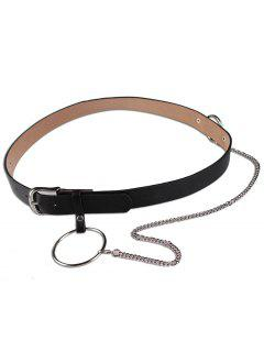 Large Hoop Chain Pin Buckle Wide Belt - Black