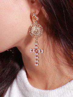 Faux Pearl Floral Engraved Crucifix Earrings - Golden