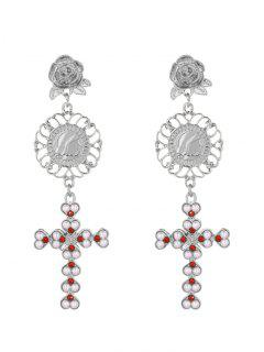 Faux Pearl Floral Engraved Crucifix Earrings - Silver