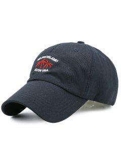 Coconut Tree Embroidery Adjustable Baseball Cap - Black