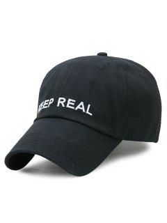 KEEP REAL Pattern Adjustable Baseball Hat - Black