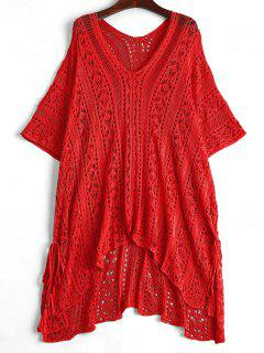 Open Knit Beach Poncho Cover Up Dress - Red