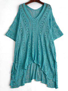 Open Knit Beach Poncho Cover Up Dress - Lake Blue