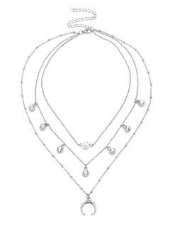 Faux Pearl Rhinestone Tribal Moon Layered Necklace - Silver