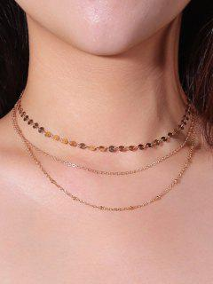 Layered Disc Chain Collarbone Necklace - Golden