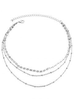 Layered Disc Chain Collarbone Necklace - Silver