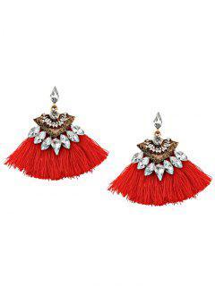 Bohemia Style Alloy Geometric Tassel Drop Earrings - Red