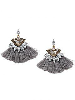 Bohemia Style Alloy Geometric Tassel Drop Earrings - Gris