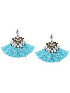Bohemia Style Alloy Geometric Tassel Drop Earrings - Windsor Blue