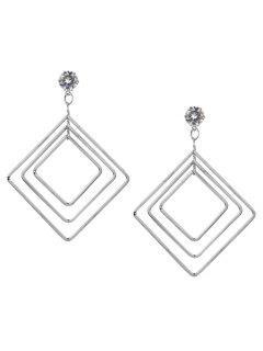 Vintage Alloy Multideck Geometric Drop Earrings - Silver