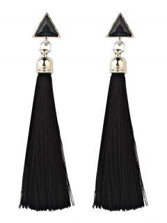 Bohemia Triangle And Tassel Long Drop Earrings - Black