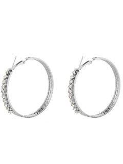 Sparkly Rhinestoned Circle Hoop Earrings - Silver