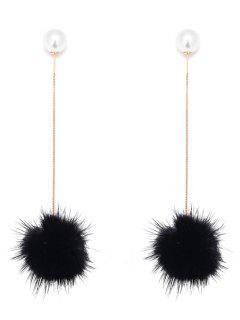 Faux Pearl Fuzzy Ball Pendientes De Cadena - Negro