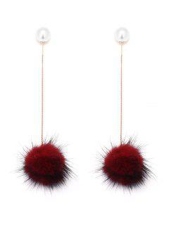 Faux Pearl Fuzzy Ball Pendientes De Cadena - Vino Rojo