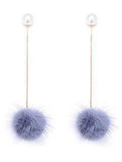 Faux Pearl Fuzzy Ball Pendientes De Cadena - Gris