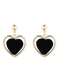 Valentine's Day Love Heart Vintage Earrings - Black
