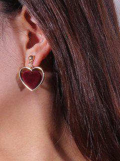 Valentine's Day Love Heart Vintage Earrings - Wine Red