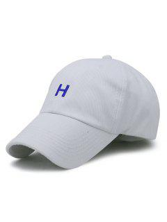H Embroidery Adjustable Baseball Hat - White