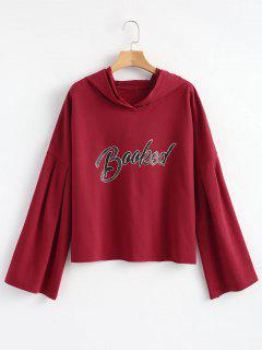 Drop Shoulder Letter Print Hoodie - Burgundy M