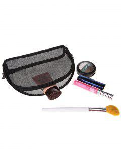 Shell Shaped Gauze Makeup Bag - Black