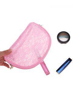 Portable Lace Embellished Travel Makeup Bag - Pink
