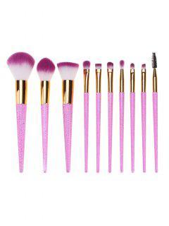 Portable Ombre Hair 10Pcs Makeup Brushes Set - Pink