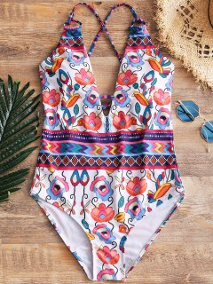 One Piece Cross Back Floral Swimwear - Floral M