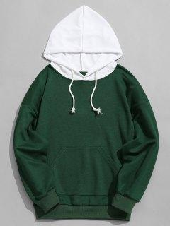 Contrast Hood Mens Hoodie - Green L
