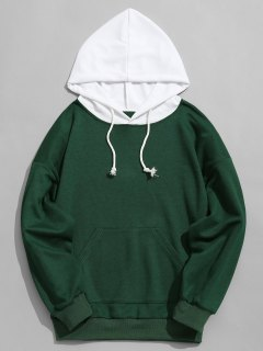 Contrast Hood Mens Hoodie Men Clothes - Green M