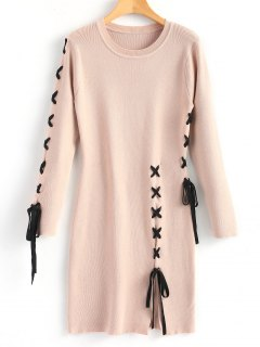 Slit Criss Cross Sweater Dress - Nude Pink L
