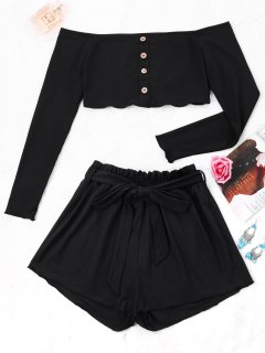 Ribbed Crop Top And Wide Leg Shorts - Black S