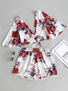 Floral Cropped Top And Lace Trim High Waisted Shorts - White L