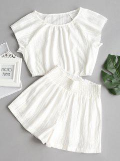 Cap Sleeve Crop Top And Shorts Set - White S