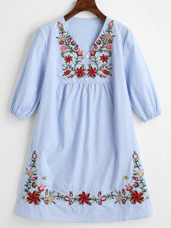 V Neck Floral Patched Striped Dress - Light Blue M