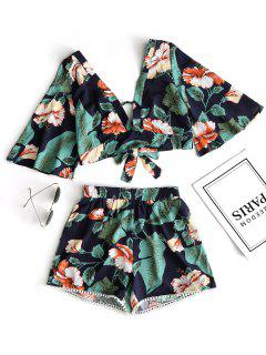 Floral Cropped Top And Lace Trim High Waisted Shorts - Green M