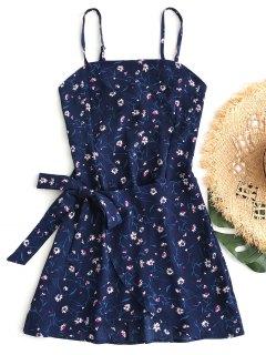 Tiered Bowknot Cut Out Mini Dress - Blue L