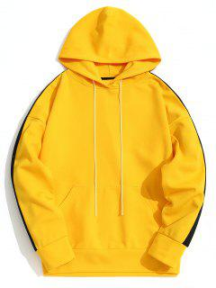 Kangaroo Pocket Contrast Color Hoodie Men Clothes - Yellow Xl