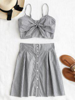 Twist Stripes Top And Tied Button Up Skirt Set - Stripe L