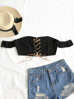 Cropped Off Shoulder Lace Up Top - Black L