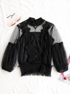 See Through Crochet Gauzy Blouse With Tank Top - Black M