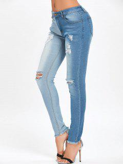Frayed Hem Ripped Two Tone Jeans - Blue L