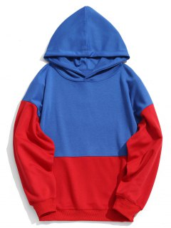 Two Tone Pullover Hoodie - Blue L
