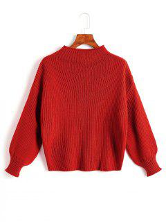 Plain Mock Neck Lantern Sleeve Sweater - Red