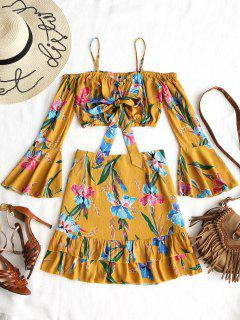 Floral Cold Shoulder Top And Ruffle Mini Skirt Set - Yellow S
