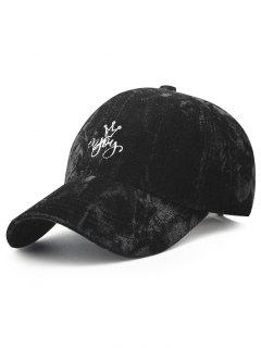 Yoy Crown Embroidery Velvet Baseball Hat - Black