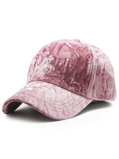 Yoy Crown Embroidery Velvet Baseball Hat - Pink
