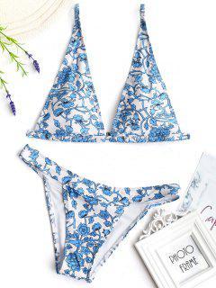 Printed Plunging Neck Bikini - Blue L