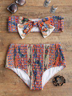 Conjunto De Bikini Bandeau Impreso Smocked - S